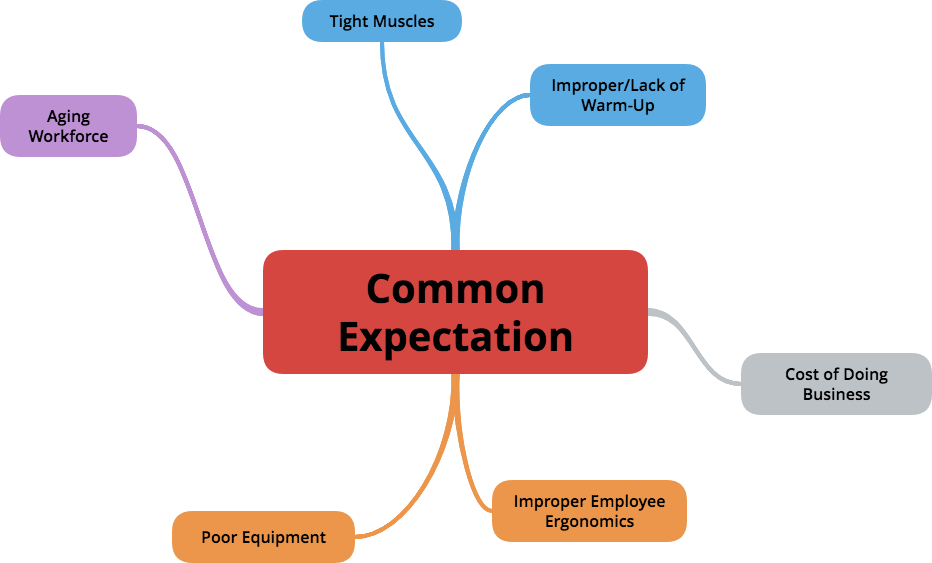 common expectation of msds, musculoskeletal disorders, improper employee ergonomics, aging workforce, tight muscles, improper warmup, lack of warmup, bad ergonomics