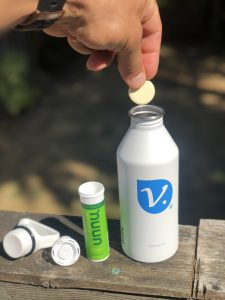 Miir vimocity water bottle, nuun tablets in vimocity water bottle, nuun tablets, electrolytes, water and electrolytes